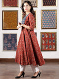Indigo Maroon Beige Black Ajrakh Hand Block Printed Kurta in Natural Colors - K115F1643
