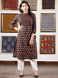 Black Maroon Ivory Ajrakh Hand Block Printed Kurta in Natural Colors - K116F1596