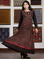 Black Maroon Beige Blue Ajrakh Hand Block Printed Cotton Long Dress - D305F1619
