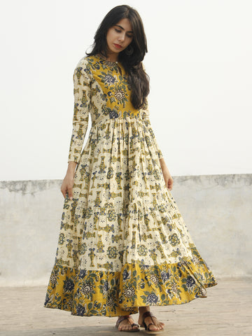 Beige Mustard Yellow Indigo Green Black Long Hand Block Cotton Tier Dress  - D139F1060