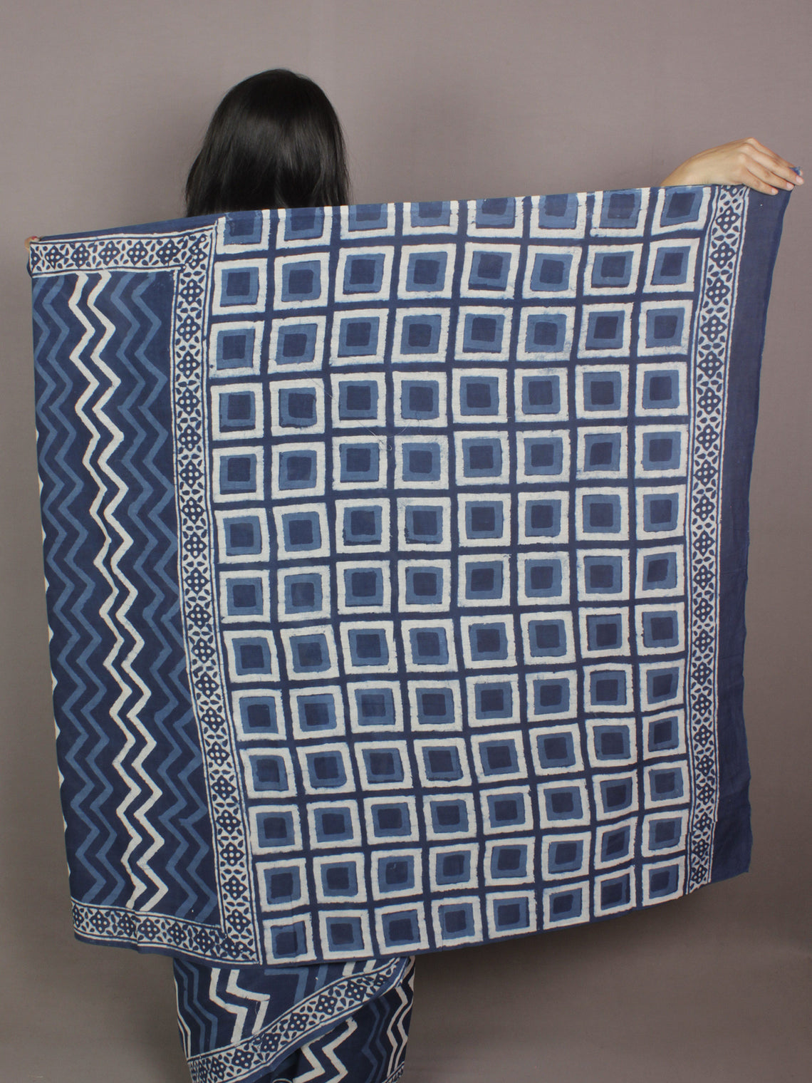 Indigo Ivory Hand Block Printed in Natural Colors Cotton Mul Saree - S031701146