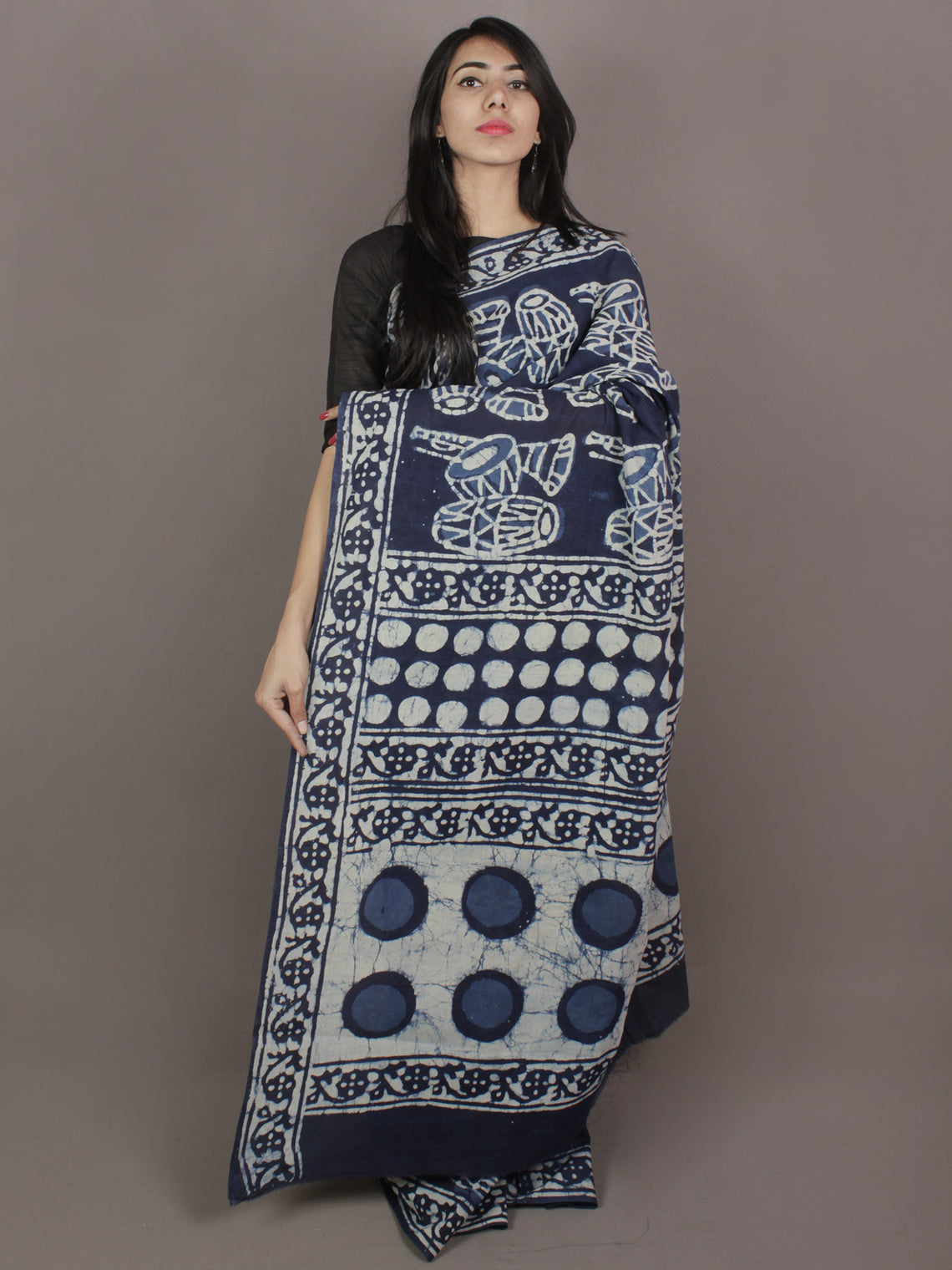 Indigo Cotton Hand Block Printed Saree in Natural Colors - S03170247