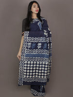 Indigo Cotton Hand Block Printed Saree in Natural Colors - S03170256