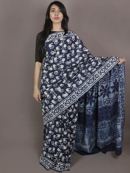Indigo Cotton Hand Block Printed Saree in Natural Colors - S03170253