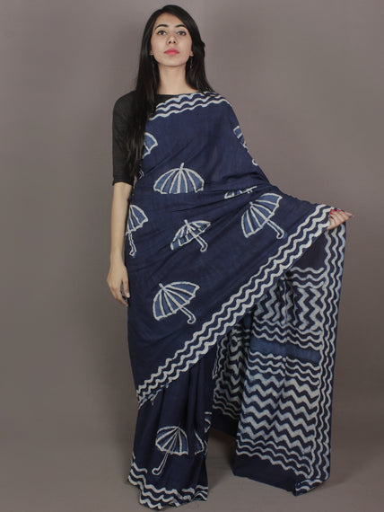 Indigo Cotton Hand Block Printed Saree in Natural Colors - S03170246