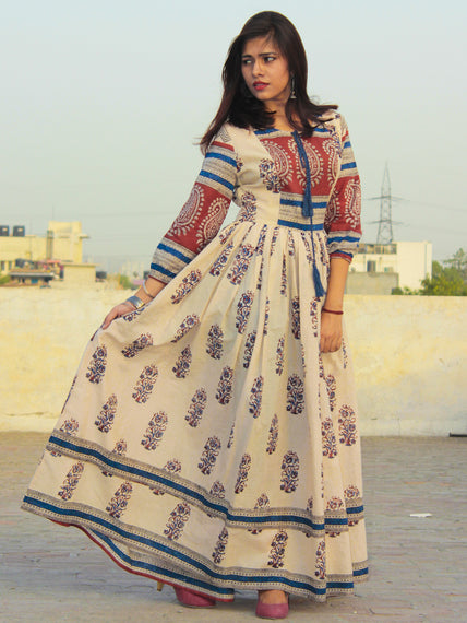 Naaz Beige Maroon Blue Hand Block Printed Long Cotton Dress with Gathers & Lining - DS06F001