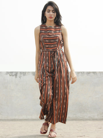 Brown Orange Green Ivory Handloom Ikat Cotton Jumpsuit With Back Zip -  D166F923