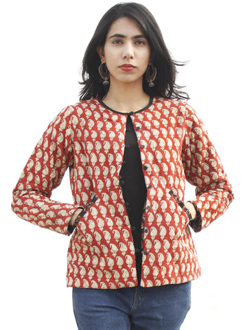 Red Black Beige Mustard Hand Block Printed Reversible Quilted Jacket - J02F791