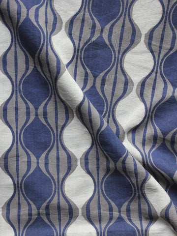 Grey Blue White Hand Block Printed Cotton Fabric Per Meter - F001F871