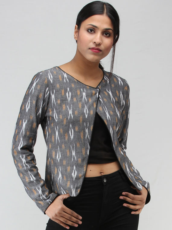 Grey White Mustard Hand Woven Ikat Crop Jacket - J15FXXX