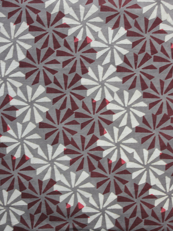 Kashish Ivory Maroon Hand Block Printed Cotton Fabric Per Meter - F001F881