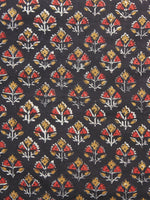 Black Mustard Red Hand Block Printed Cotton Fabric Per Meter - F001F884