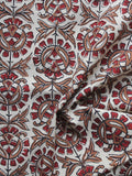 Beige Maroon Brown Hand Block Printed Cotton Fabric Per Meter - F001F887