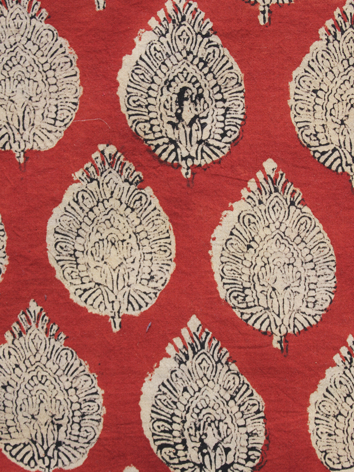 Red Beige Black Hand Block Printed Cotton Fabric Per Meter - F001F890