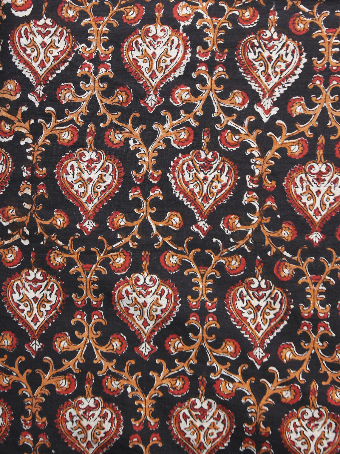 Black Maroon Brown White Hand Block Printed Cotton Fabric Per Meter - F001F892
