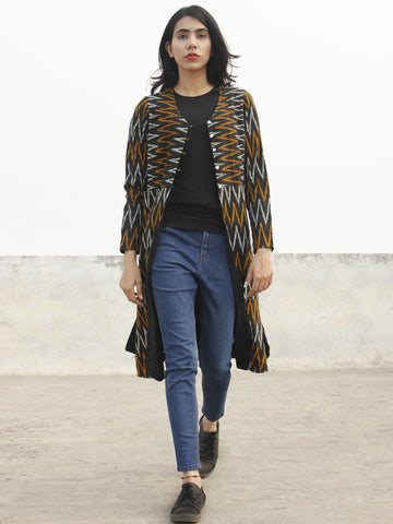 Black Yellow Ivory Hand Woven Ikat Long Jacket With Front Pockets - J06F967