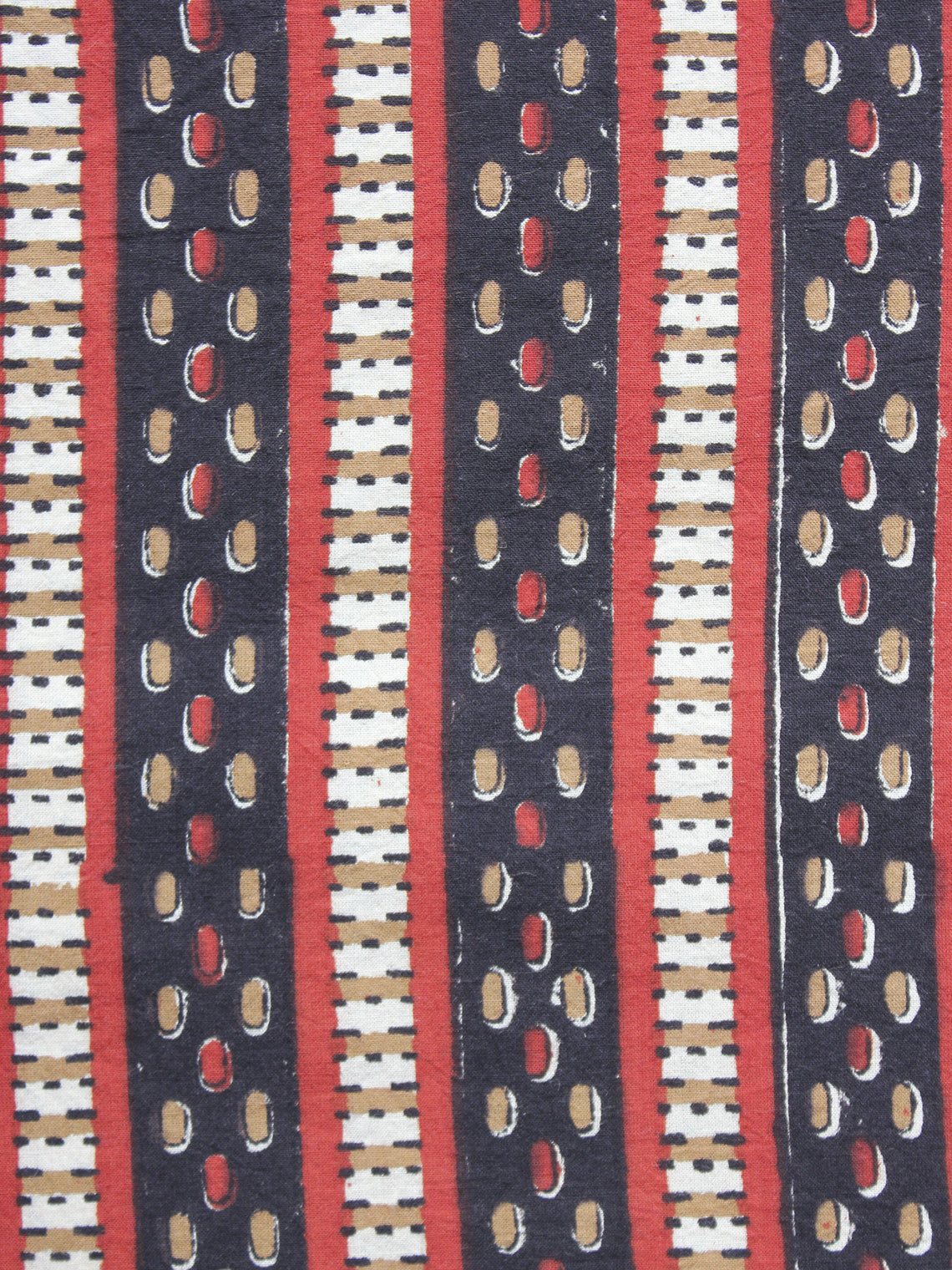 Black Red Mustard Ivory Hand Block Printed Cotton Fabric Per Meter - F001F878