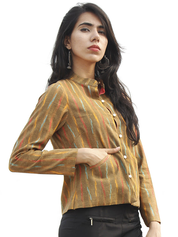 Peanut Brown Peach Yellow Hand Woven Ikat Crop Jacket With Stand Collar - J08F956