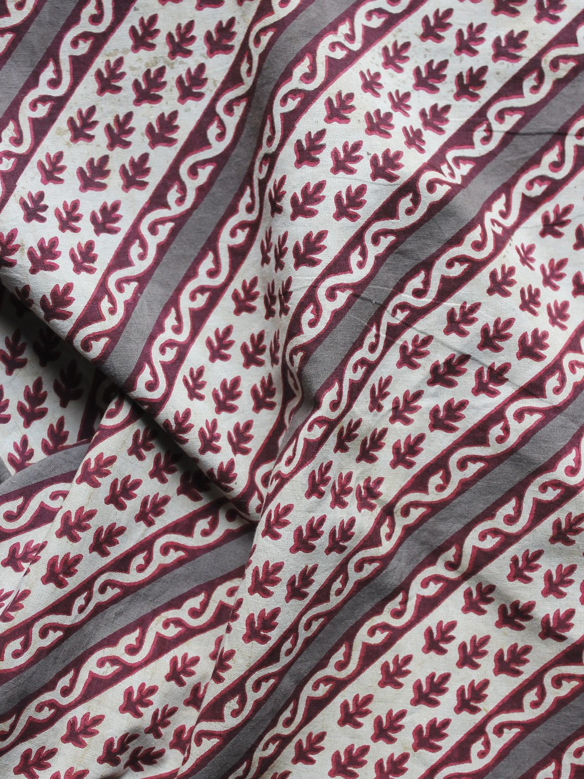Maroon Ivory Kashish Hand Block Printed Cotton Fabric Per Meter - F001F879