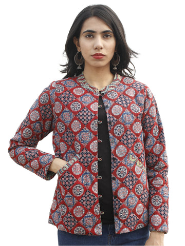 Maroon Green Indigo Ivory Hand Block Printed Reversible Quilted Jacket with Stand Collar - J04F681