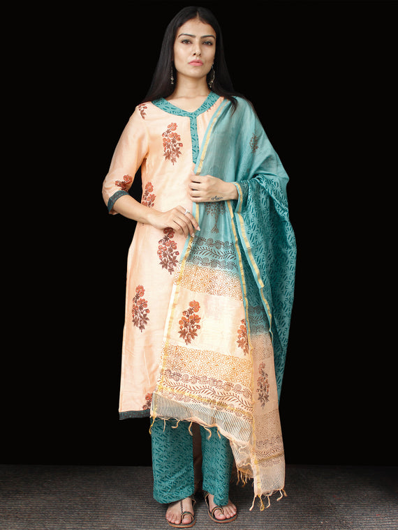 Peach Teal Blue Chanderi Block Printed Suit Set - Set of 3  - SS01F001