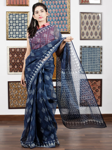 Indigo Ivory Hand Block Printed Kota Doria Saree in Natural Colors - S031703084