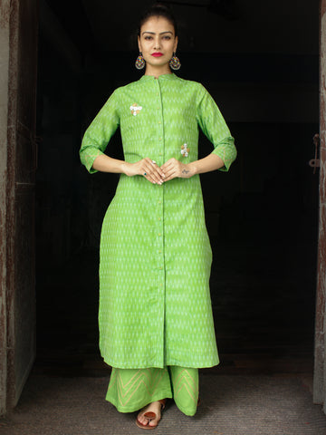 Parrot Green Pochampally Hand Woven Mercerised Ikat Cotton Suit With Embroidery Details - Set of 2  - SS01F032
