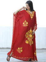 Red Yellow Aari Embroidered Long Kashmere Free Size Kaftan in Crushed Cotton - K11K051