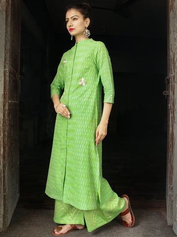 Parrot Green Hand Woven Mercerised Ikat Kurta & Pants With Embroidery Details - Set of 2  - SS01F1746