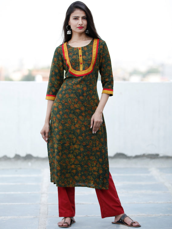 Green Yellow Black Maroon Ajrakh Hand Block Printed Kurta - K151F1674