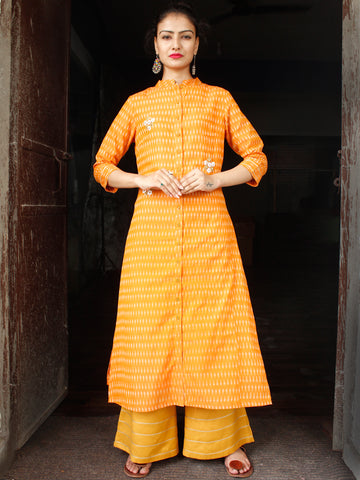 Mustard Yellow Hand Woven Mercerised Ikat Kurta & Pants With Embroidery Details - Set of 2 - SS01F1747