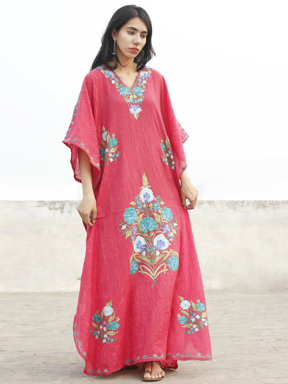 Punch Pink With Sky Blue Aari Embroidered Long Kashmere Free Size Kaftan in Crushed Cotton - K11K010