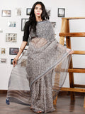 Kashish Ivory Blue Hand Block Printed Kota Doria Saree in Natural Colors - S031702856