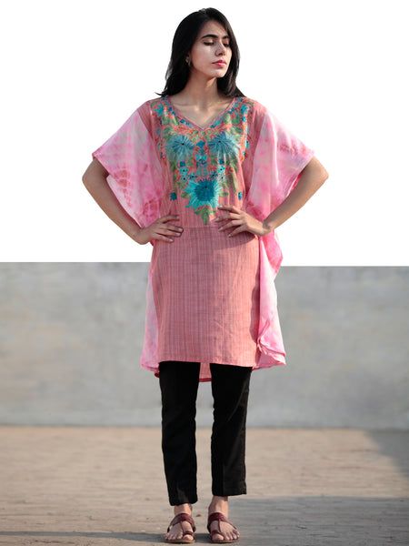 Pink Sky Blue Green Aari Embroidered Short Kashmere Kaftan  - K11K024