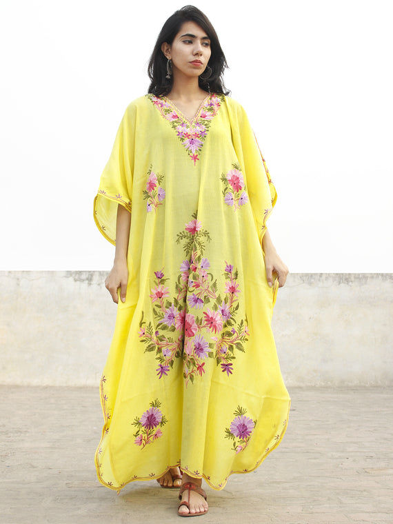 Bright Yellow with Multi color  Aari Embroidered Long Kashmere Free Size Kaftan in Crushed Cotton - K11K011