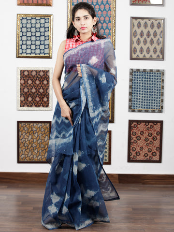 Indigo White Hand Block Printed Kota Doria Saree in Natural Colors - S031703092