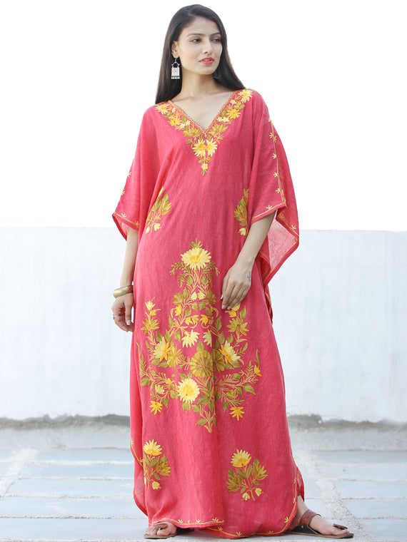 Coral Pink Yellow Aari Embroidered Kashmere Free Size Kaftan in Crushed Cotton - K11K061