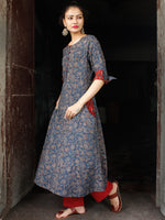 Indigo Maroon Hand Block Printed Cotton Long Ajrakh Kurta With Pockets - K158F1768