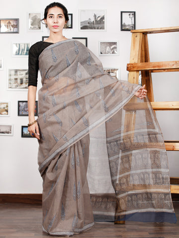 Kashish Ivory Indigo Hand Block Printed Kota Doria Saree in Natural Colors - S031702857