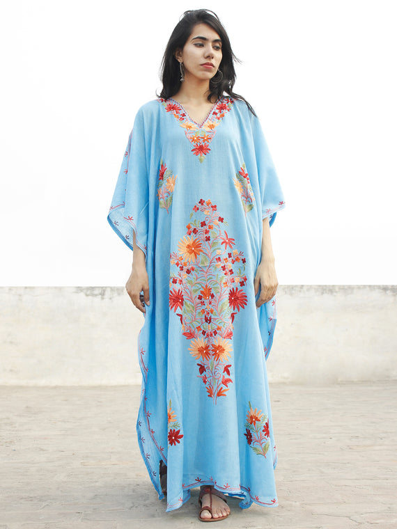 Sky Blue with Red Aari Embroidered Long Kashmere Free Size Kaftan in Crushed Cotton - K11K012