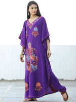 Purple Coral Pink Peach Aari Embroidered Kashmere Free Size Kaftan in Crushed Cotton - K11K062