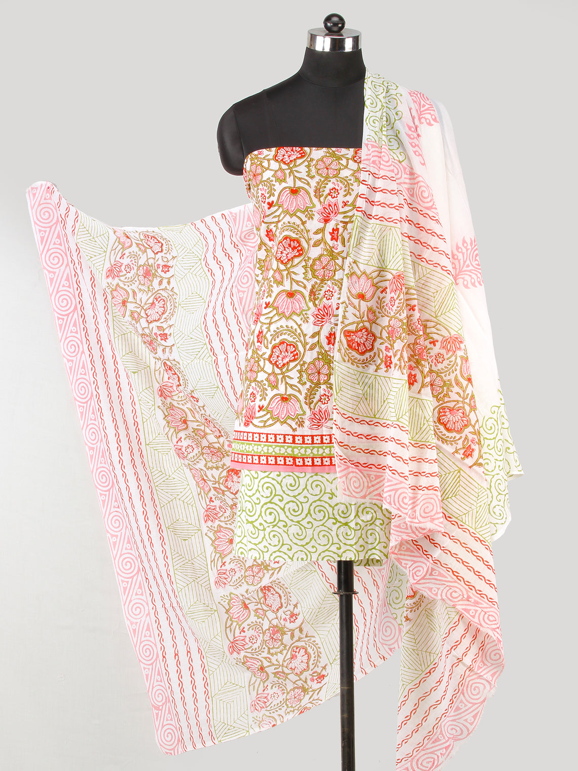 White Pink Olive Green Hand Block Printed Cotton Suit-Salwar Fabric With Cotton Dupatta (Set of 3) - SU01HB433
