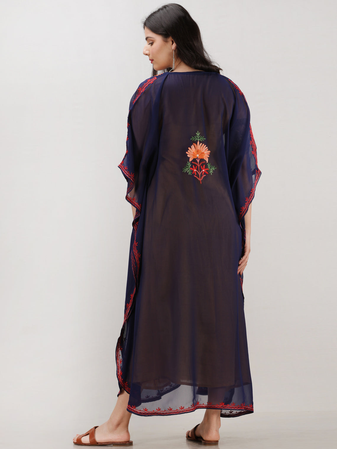 Navy Blue Multicolor Aari Embroidered Kashmere Free Size Georgette Kaftan  - K12K008