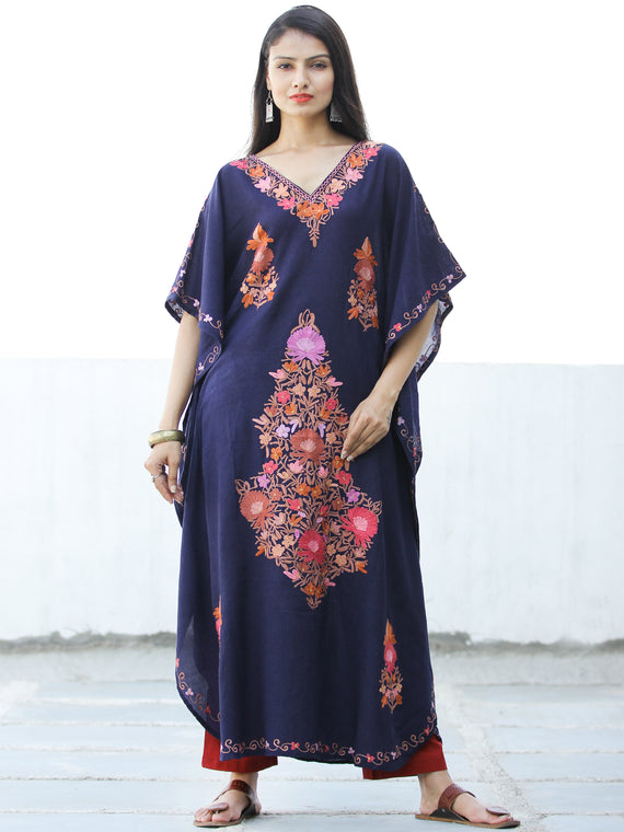Navy Blue Coral Lilac Aari Embroidered Kashmere Free Size Kaftan in Crushed Cotton - K11K063