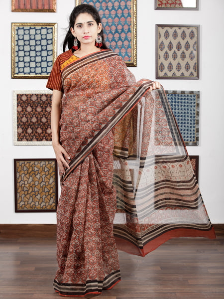 Brick Red Beige Black Hand Block Printed Kota Doria Saree in Natural Colors - S031703094