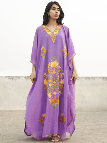 Mauve Yellow Aari Embroidered Long Kashmere Free Size Kaftan in Crushed Cotton - K11K013