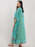 Sea Green Multicolor Aari Embroidered Kashmere Free Size Georgette Kaftan  - K12K009