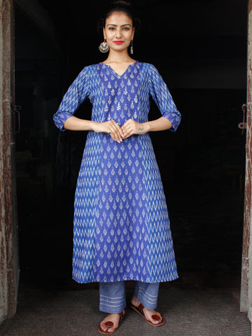 Electric Blue Grey Hand Woven Mercerised Ikat Kurta & Pants With Sequence Embroidery - Set of 2 - SS01F1413