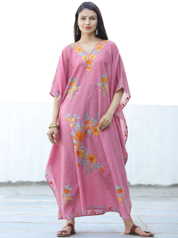 Coral Pink Sky Blue Aari Embroidered Kashmere Free Size Kaftan in Crushed Cotton - K11K064