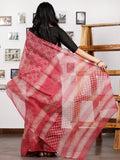 Pink Ivory Indigo Hand Block Printed Kota Doria Saree in Natural Colors - S031702859